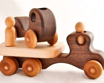 Wooden Toy Flatbed Truck and Kids First Car in Walnut and Cherry (Montessori, Natural, Wood Toys)