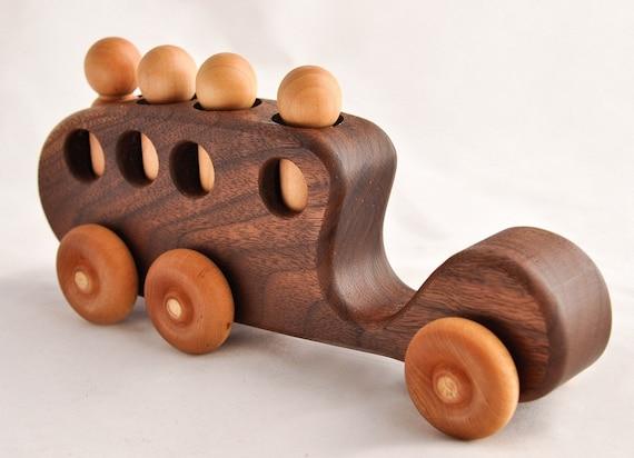 Wooden Toy Bus Organic Walnut Passenger Car Kids Gift