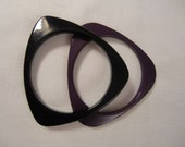 Vintage Black & Purple Triangle Asymmetrical Lucite Bangle Bracelets Pair Set
