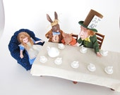 Alice in Wonderland Mad Tea Party 1:12 Scale Miniature Doll Display