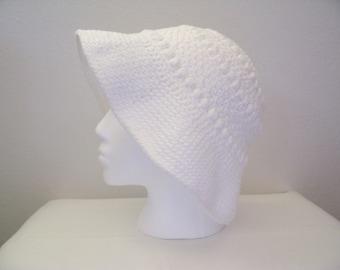 White Bobble Bucket Hat