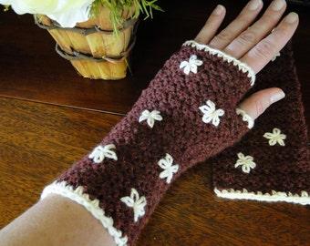 Crochet Fingerless Wrist Warmer  Burgandy