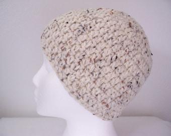 Beanie Hat Cap Crochet in Aran Fleck Color
