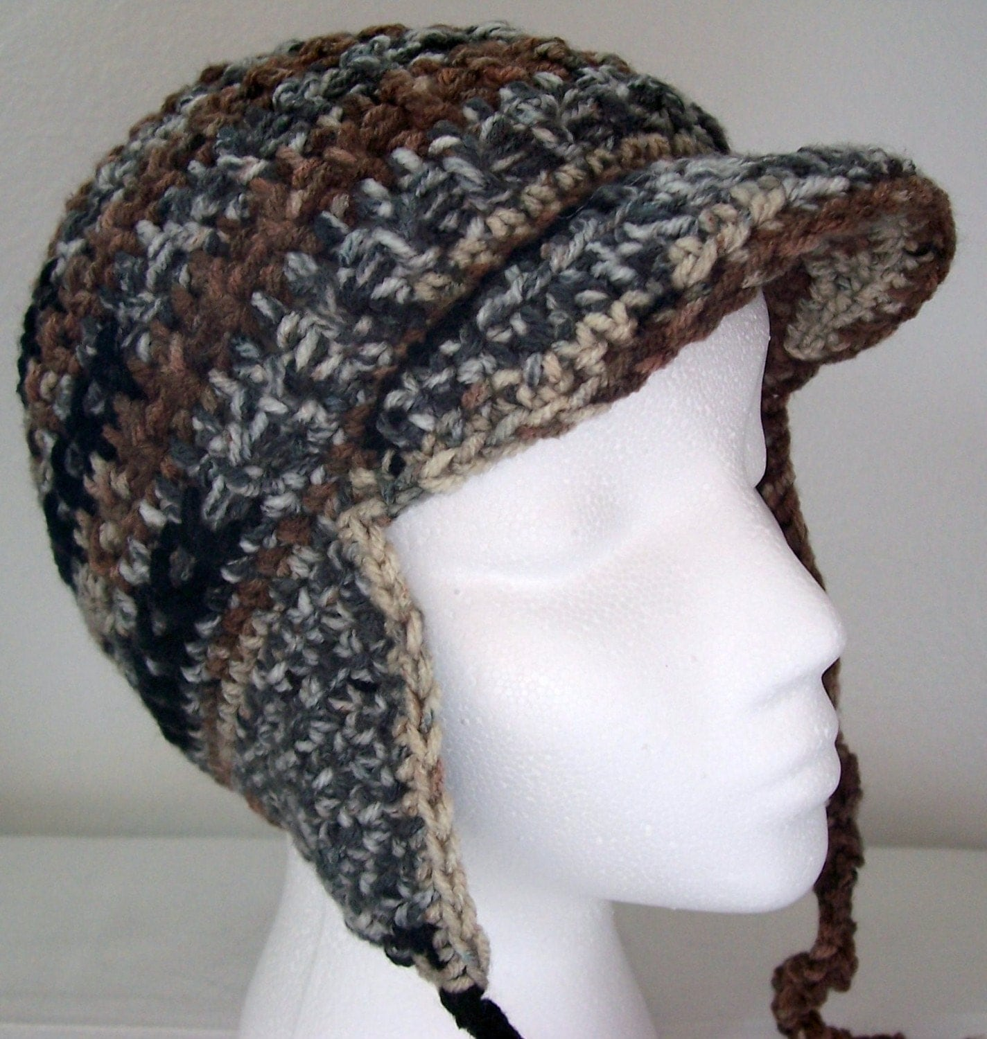 Amigurumi Earflap Hat : Crochet Earflap Hat with Brim and Ties in Shades of Brown and