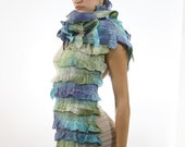 Winter fashion Cobweb Felted ruffle scarf row blue green white christmas gift under 80 100 winter holiday gift for her