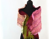 SALE Winter Fashion Nuno Felted scarf pink green neon green red merlot valentine day gift for her under 150 holiday texture
