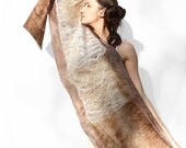 Oversize nuno felted shawl in brown tones