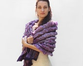 OOAK Nuno felted scarf Purple hand painted shawl wrap chunky texture lavender purple rust under 150 christmas preview gift guide