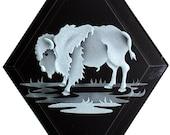 Carved Glass Buffalo Hanging Suncatcher