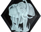 Carved Glass Elephant with Trunk Up Hanging Suncatcher