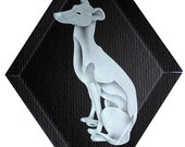 Carved Glass Greyhound Dog Hanging Suncatcher