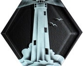 Carved Glass Point Comfort Lighthouse Hanging Suncatcher
