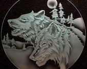 Carved Glass Wolves with Moon 12 inch Circle in Base