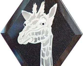 Carved Glass Giraffe Hanging Suncatcher