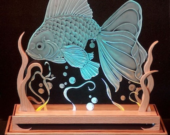 Carved Glass Goldfish in Oak Base Lit with LED