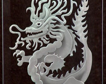 Carved Glass Chinese Dragon in Handcrafted Wooden Base