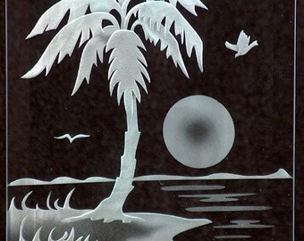 Carved Glass Palm Tree in Handcrafted Wooden Base