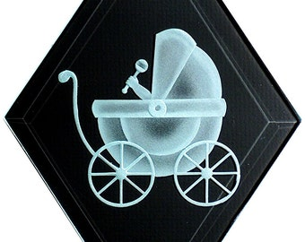 Carved Glass Baby Buggy Hanging Suncatcher