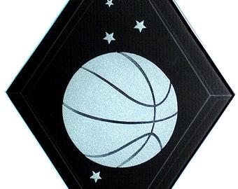 Carved Glass Basketball Hanging Suncatcher
