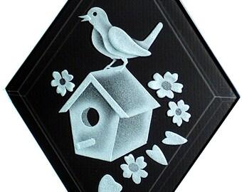 Carved Glass Birdhouse and Bird Hanging Suncatcher