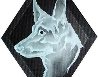 Carved Glass German Shepherd Dog  Hanging Suncatcher