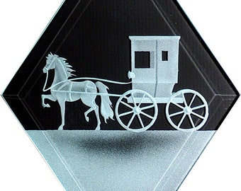 Carved Glass Horse and Buggy Hanging Suncatcher