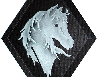 Carved Glass Horse Head Hanging Suncatcher