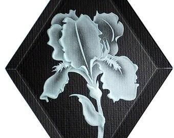 Carved Glass Iris Hanging Suncatcher
