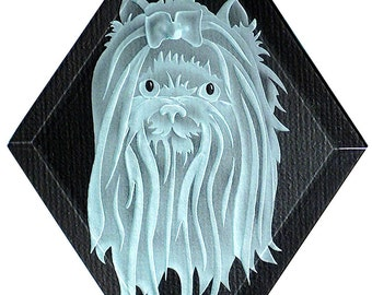 Carved Glass Maltese Dog Hanging Suncatcher