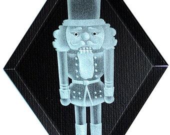 Carved Glass Nutcracker Hanging Suncatcher