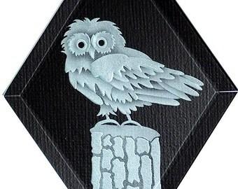 Carved Glass Owl on Post Hanging Suncatcher