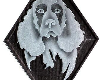 Carved Glass Spaniel Dog Hanging Suncatcher