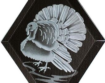 Carved Glass Turkey Hanging Suncatcher