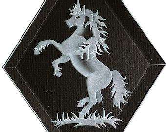 Carved Glass Unicorn Hanging Suncatcher