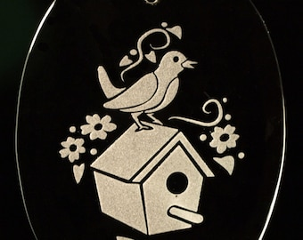 Carved Glass Birdhouse Christmas Ornament