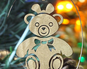 Carved Glass Girl Teddy Bear with Bow Christmas Holiday Ornament