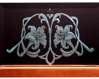 Carved Glass Victorian Lilies in Handcrafted Wooden Base