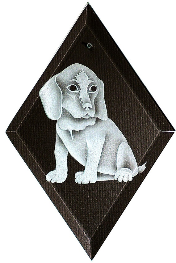 Carved Glass Puppy Hanging Suncatcher