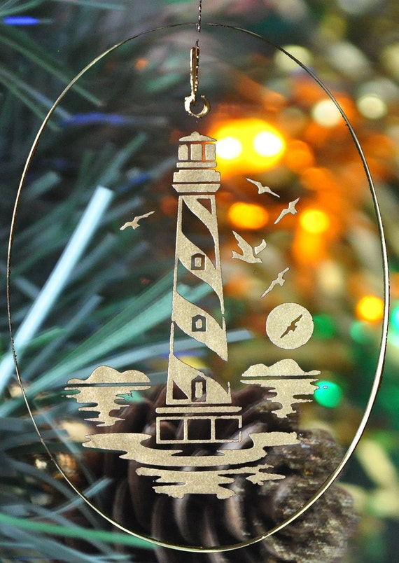 Carved Glass Hatteras Lighthouse Christmas Holiday Ornament