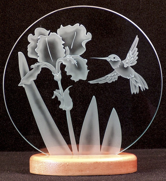Carved Glass Beared Iris and Hummingbird 12 inch Circle with Base