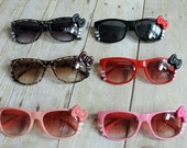 Hello Kitty Inspired Sun glasses in red, pink, brown leopard and peach, you choose one color/pair