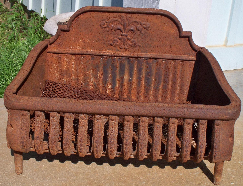 🔎zoom - Antique Cast Iron Fireplace Coal Grate Basket With Fleur