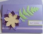 Best Wishes Card All the Best Purple Flower Card Die Cut Card