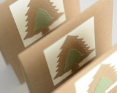 Rustic Christmas Cards Set of Three Cards Green and Brown Christmas Tree Cards