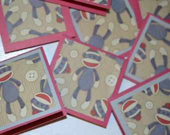 Sock Monkey Mini Cards Monkey Greeting Cards Set of 8