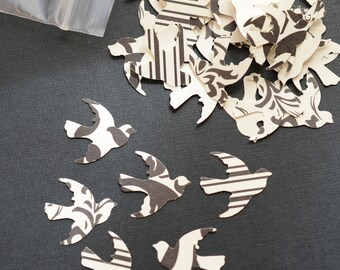 Die Cut Doves 100 Paper Birds Black White Wedding Confetti