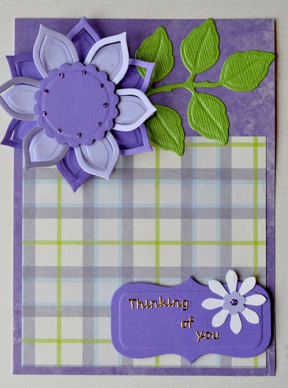 Thinking of You Card Thinking of You Greeting Card Lilac Green Purple Card Die Cut Flower