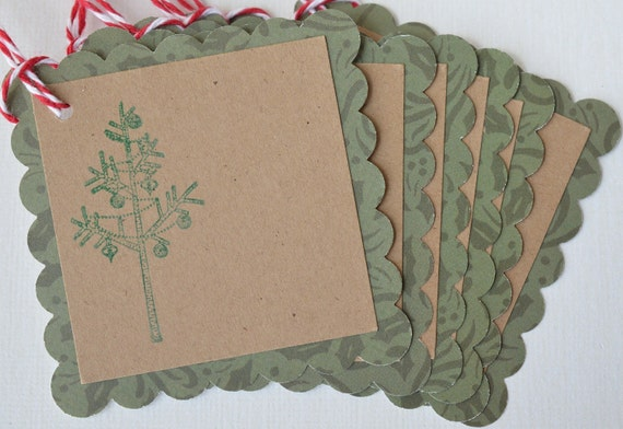 Christmas Gift Tags Hand Stamped Christmas Tree Labels Kraft Tags Rustic Festive