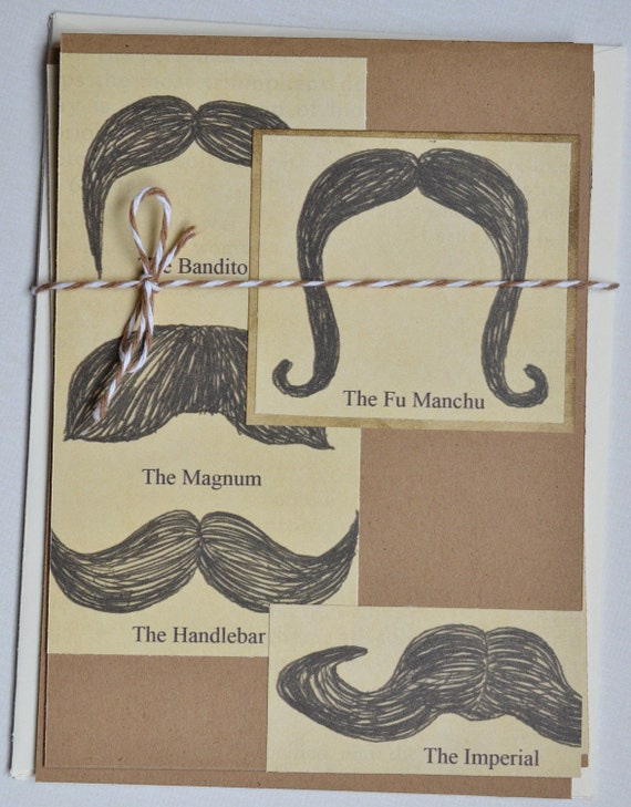 Geeky Cards Moustache Cards Set of Three Blank Handmade Cards movember