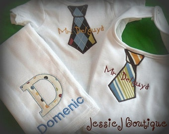 Personalized Baby Boy Gift Set Including Bib Bodysuit and Burp Cloth